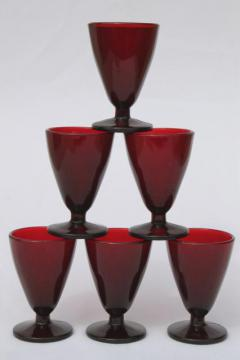tiny footed glasses vintage Anchor Hocking royal ruby red glass wine glasses