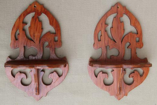 tiny fretwork wood wall shelves, vintage cottage gingerbread style wooden shelf set