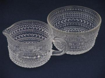 tiny hobnail pattern glass , vintage cream pitcher and sugar bowl set