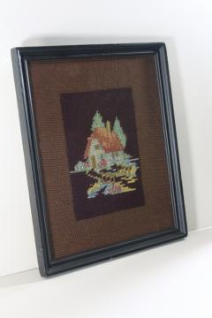 tiny house cottage hand stitched needlepoint, framed vintage needlework