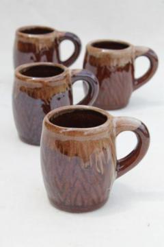tiny old brown drip glaze pottery beer steins, vintage shot glasses set