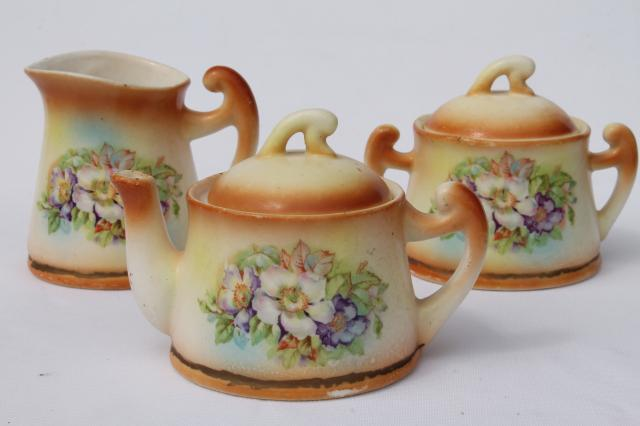 Tiny Old Cottage Style Tea Pot Set Vintage Czechoslovakia