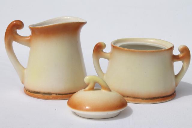 Tiny Old Cottage Style Tea Pot Set Vintage Czechoslovakia