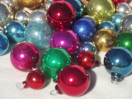 tiny old mercury glass christmas balls antique feather tree ornaments - Glass Christmas Balls