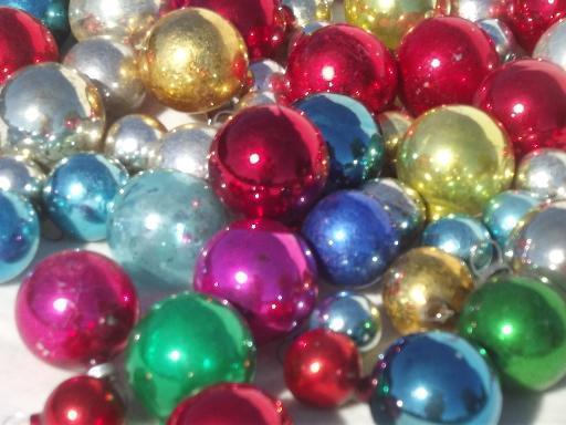 9 Small Mercury Glass Ornaments SKU 30-401-00012651 VINTAGE Feather Tree Ornaments