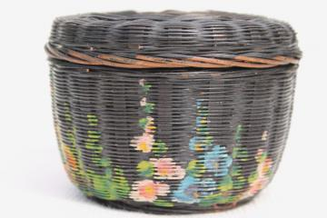 tiny old round wicker sewing basket w/ hand painted hollyhocks flowers