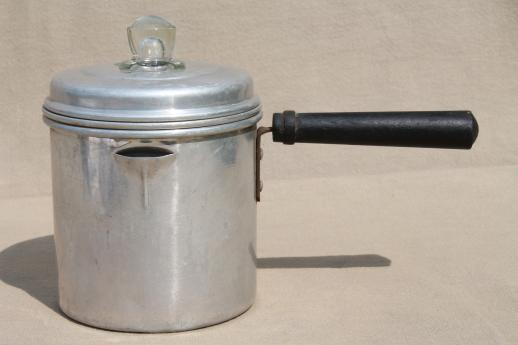 tiny one cup stovetop coffee pot, vintage percolator for camping or travel trailer