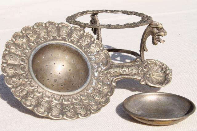 Tiny Ornate Metal Tea Strainer On Stand Vintage Italian