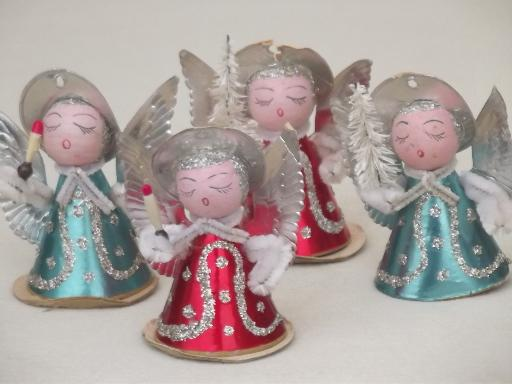 tiny paper angels, vintage made in Japan Christmas ...