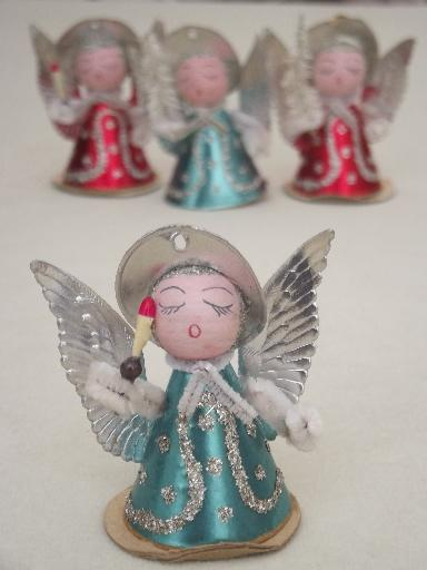 tiny paper angels, vintage made in Japan Christmas ornament ...