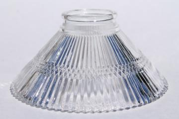 tiny prismatic glass shade, clear pressed glass lampshade holophane style ribbed glass