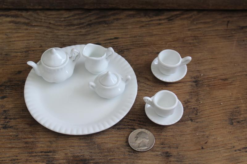 tiny pure white porcelain tea set, china doll dishes toy miniatures
