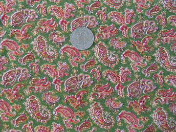 tiny quilting print paisley, 1940s vintage 36'' wide cotton fabric