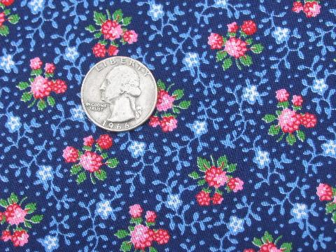 tiny raspberries and flowers calico print, vintage cotton quilting fabric
