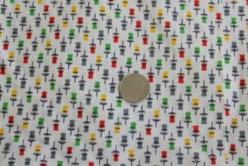 tiny tulips print cotton fabric 50s 60s vintage quilting weight material
