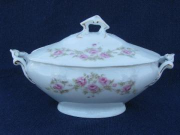tiny tureen w/ cover, antique Bavaria china pink roses floral