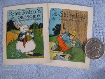 tiny vintage Easter bunny books, color litho Thornton Burgess stories