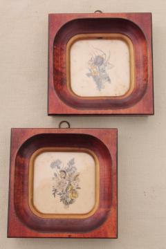 tiny vintage botanical floral prints in deep wood frames, old artwork miniatures