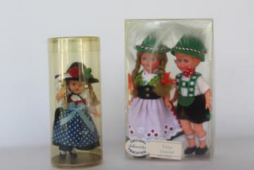 tiny vintage hard plastic dolls in Bavarian & Austrian folk costumes, dollhouse dolls