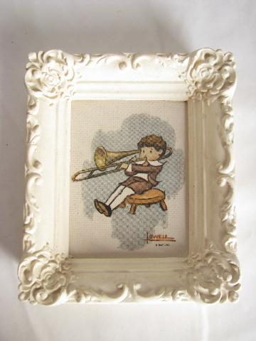 Tiny Vintage Prints In Chalkware Plaster Frames The Wee Musicians