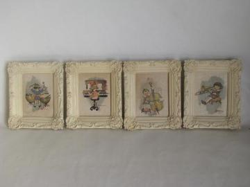 tiny vintage prints in chalkware plaster frames, the Wee Musicians