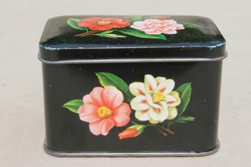tiny vintage tea tin w/ camellia flowers, floral print metal box tea canister