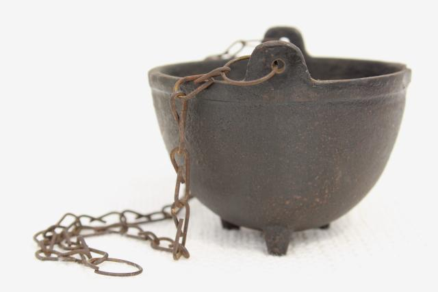 tiny witch cauldron pot, 1970s vintage cast iron kettle plant pot hanger