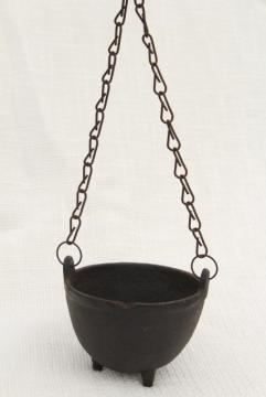 tiny witch cauldron pot, 1970s vintage cast iron kettle plant pot hanger