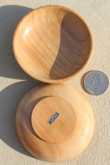 tiny wood bowls made in Japan, set of vintage condiment dishes for dipping sauces etc.