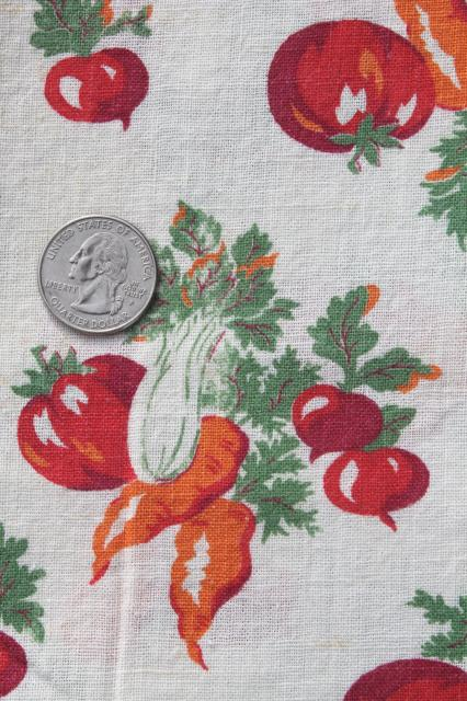 tomatoes carrots garden vegetables print vintage cotton feed sack fabric