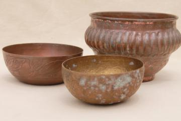 tooled copper and brass bowls, vintage planter pots w/ tarnished old patina