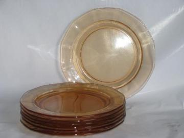 topaz amber-peach vintage depression glass plates, paneled optic