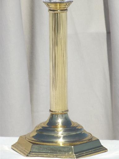 torchiere table lamp, brass column candlestick w/ pressed glass shade