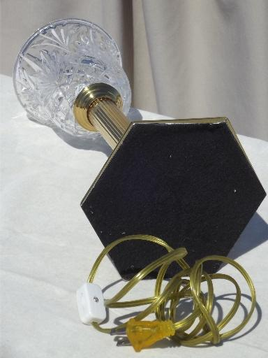 Torchiere Table Lamp Brass Column Candlestick W Pressed