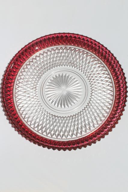 torte cake plate or platter w/ bowl, Indiana glass diamond point ruby stain flashed color band