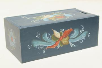 traditional Norwegian rosemaling, hand painted artist signed wood box