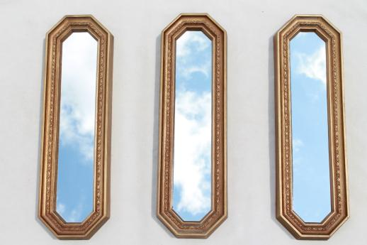 Trio of gold framed mirrors vintage 60s wall art set for Long thin decorative mirrors