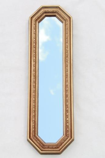 Trio Of Gold Framed Mirrors Vintage 60s Wall Art Set Long Narrow Mirror Grouping