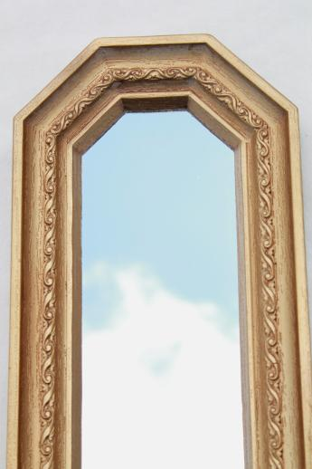 Trio of gold framed mirrors vintage 60s wall art set for Long skinny wall mirrors