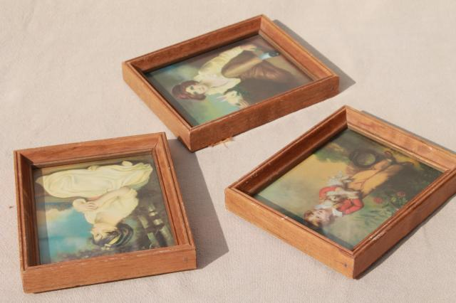 trio of miniature picture frames, retro kitsch romantic style prints of pretty children