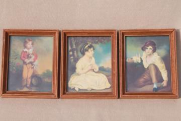 trio of miniature picture frames, retro kitsch romantic style prints of pretty children