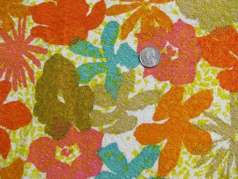 Tropical Floral Print Retro Vintage Cotton Terry Cloth Fabric