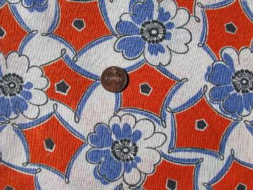 tropical flowers on orange, vintage cotton print feedsack fabric