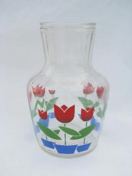 tulips vintage tulip pattern kitchen glass juice bottle refrigerator carafe