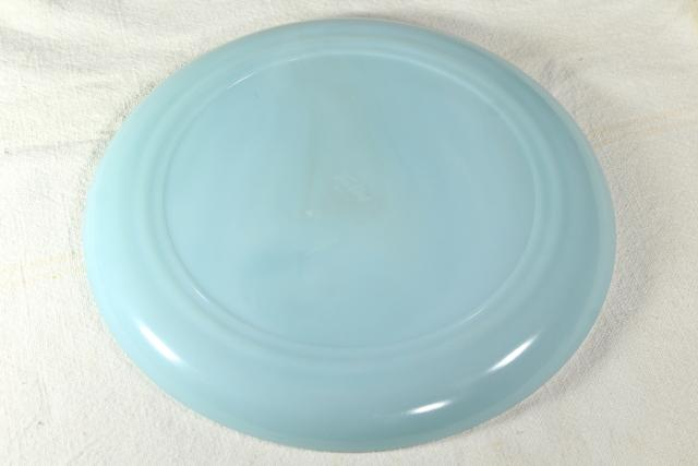 turquoise blue Fire King oven ware dinner plate, vintage azurite delphite blue glassware