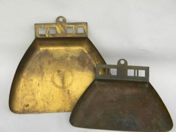 two Arts & Crafts Mission vintage brass crumb pans for bungalow table