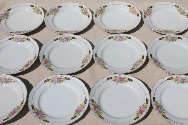 & two doves 1940s Japan hand painted porcelain plates vintage china set