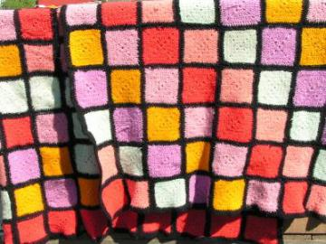 two felted vintage wool crochet afghans for cutting