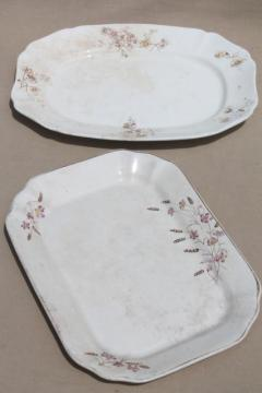 two huge antique ironstone platters, shabby vintage brown transferware china