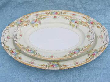 two large platters, vintage Japan china w/ hand-painted floral border
